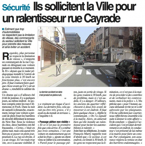 decazeville,circulation,rue cayrade,double sens cyclable,sécurité routière