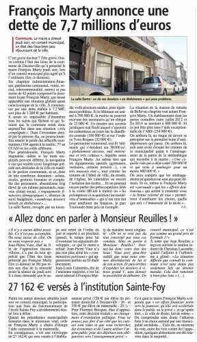 François Marty annonce une dette de 7,7 M€ - Centre-Presse -270914.jpg